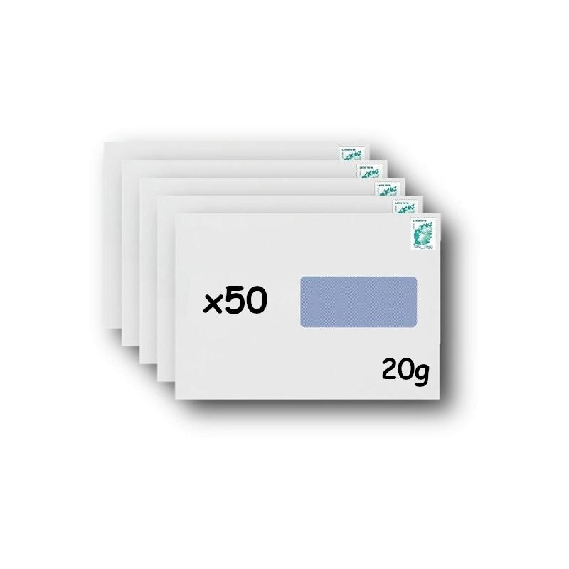 Pack 500 Enveloppes timbrées - Format postal C4 - Lettre verte - 250g