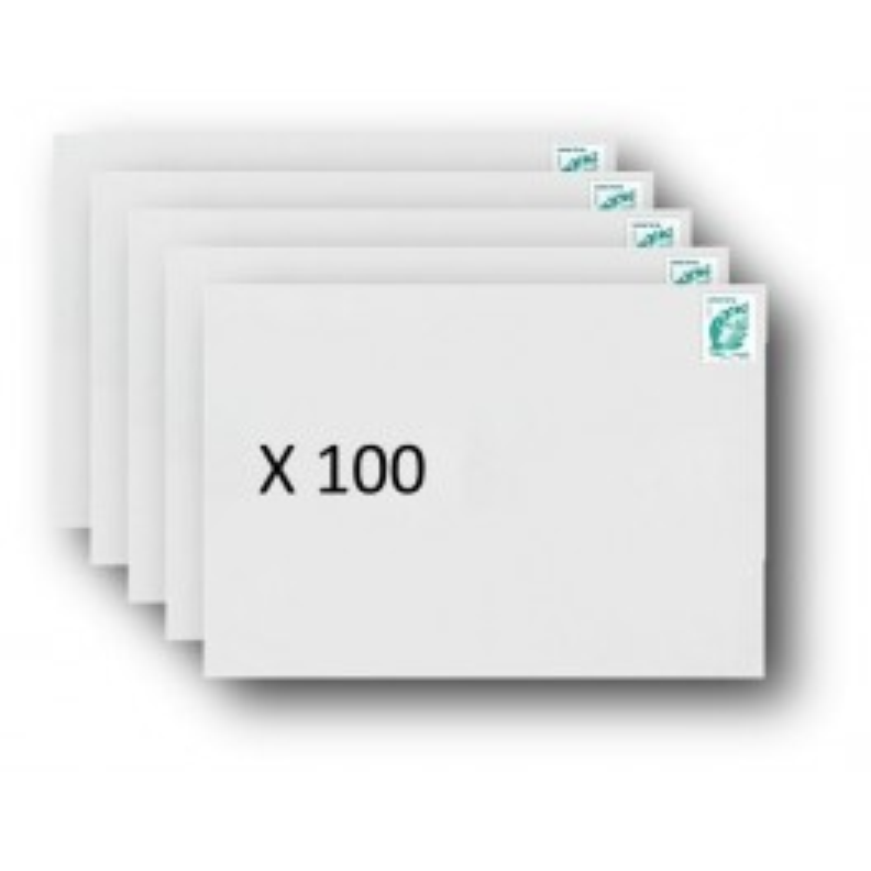 Pack 100 Enveloppes timbrées - Format postal C5 - Lettre verte - 100g