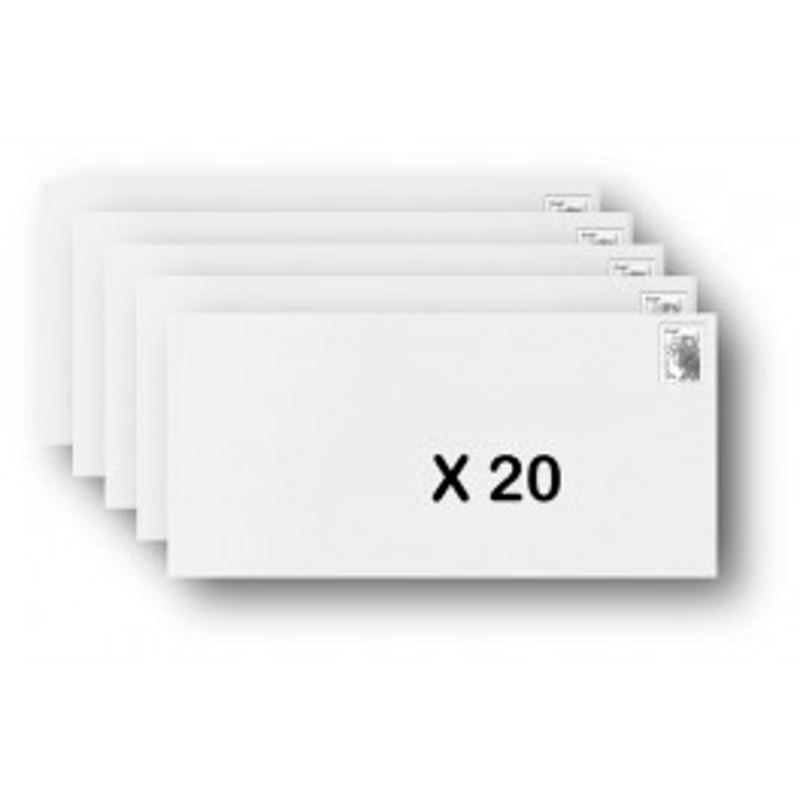 Pack 20 Enveloppes timbrées - Format postal DL - Ecopli - 100g