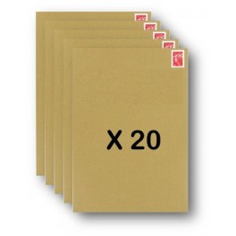 Pack 20 Enveloppes timbrées - Format postal C4 - Lettre prioritaire - 100g