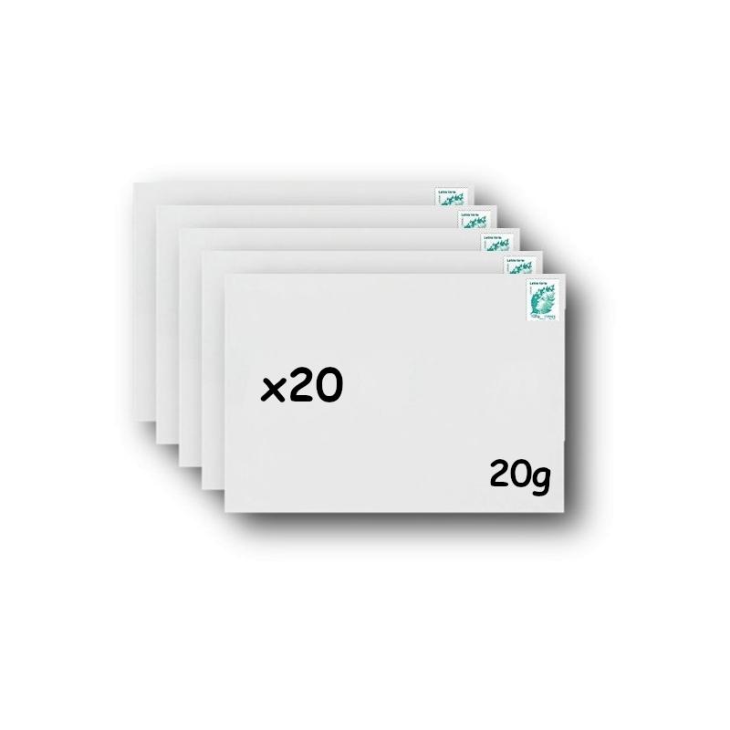 Pack 20 Enveloppes timbrées - Format postal C4 - Lettre verte - 250g